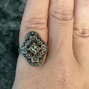 Art Deco Style Vintage Sterling Silver Marcasite